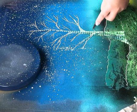 Spray Paint Art: Tree and Sun live paiting