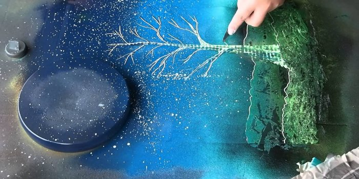 Spray Paint Art: Tree and Sun live paiting